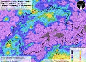 Lichtverschmutzung Schweiz Qelle: darksky.ch